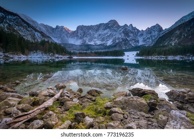 Last light in Fusine lakes Italy