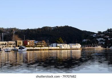 Last light at Home Point, Launceston, Tasmania, Australia. Trevallyn houses in right corner.
