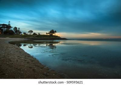 last light sunset Brighton city beach calm evening