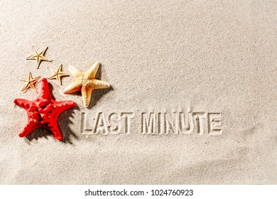 last minute and summer subtitles on the sand for advertising or text