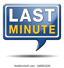 last minute ticket booking for a flight reservation. Vacation promotion offer sign label or icon.