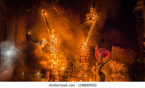 The last parts in the fire of the burning Falla Taut during la Crema final event during Las Fallas festival in Valencia Community, city of Cullera in Spain.