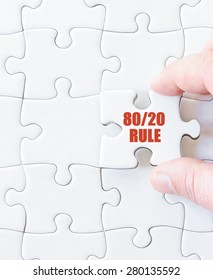 Last puzzle piece with text Eighty Twenty Rule. Concept image