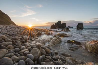Last rays of light at sunset