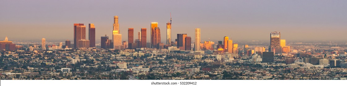 last rays of sun hitting downtown Los Angeles on the first day of summer