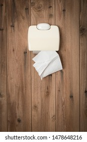 Last remaining sheet of toilet tissue in toilet paper holder on wooden wall of outhouse