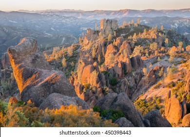 Last Sunlight on Pinnacles National Park, California, USA. Sunset over the volcanic monoliths of Pinnacles National Park.
