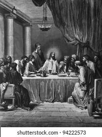 The Last Supper. 1) Le Sainte Bible: Traduction nouvelle selon la Vulgate par Mm. J.-J. Bourasse et P. Janvier. Tours: Alfred Mame et Fils. 2) 1866 3) France 4) Gustave Doré