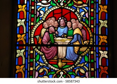 Last Supper Victorian stained glass window depicting the Last Supper.  Window created in the mid 19th century for the church of St Boniface in Bonchurch, Isle of Wight