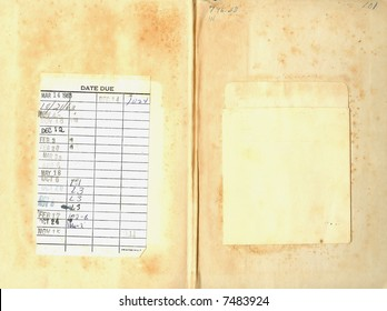 Last two pages of a vintage library book with due date card glued to one side and the card pouch on the other.  The paper is worn, stained, and yellowed.