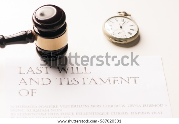 last will and gavel for finance and legal concept