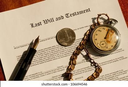Last Will legal document and pen, dollar, clocks