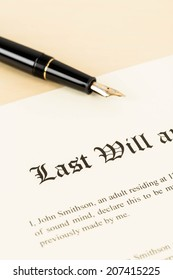 Last will on cream color paper and pen concept for legal document