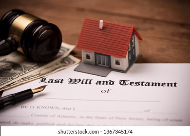 Last will and testament form with gavel. Decision, financial close up