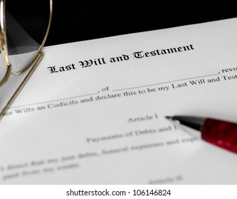 Last Will and Testament form with limited depth of field