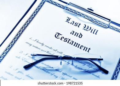 Last will and testament and glasses in monochrome