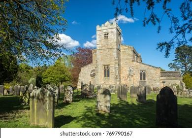 Lastingham church graveyard in the North York Moors national park