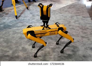 Las-Vegas, NV, USA - March 10, 2020: Robot Dog Boston Dynamics Trimble at CONEXPO-CON/AGG 2020 in Vegas