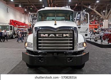 Las-Vegas, USA - Jan 17, 2017: Close-up front view Mack truck at World of Concrete 2017 in Las-Vegas