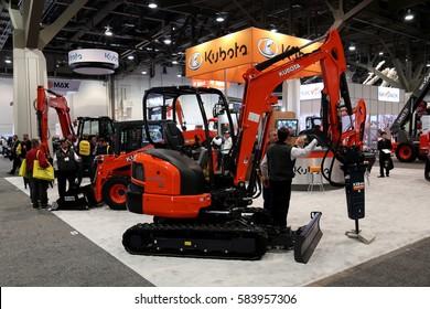 Las-Vegas, USA - Jan 17, 2017: Mini excavator Kubota KX033-4 at World of Concrete 2017 in Las-Vegas