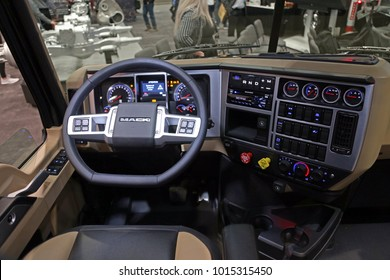 Las-Vegas, USA - Jan 23, 2018: New interior of Mack truck at World of Concrete 2018, las-Vegas