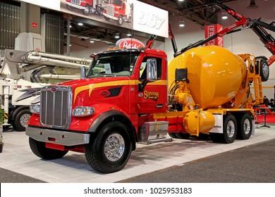 Las-Vegas, USA - Jan 24, 2018: Mixer truck Peterbilt at World of Concrete 2018, las-Vegas