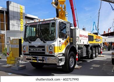 Las-Vegas, USA - March 7, 2017: Concrete pump Putzmaster Mack truck at CONEXPO-CON/AGG 2017, las-Vegas