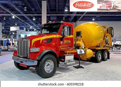 Las-Vegas, USA - March 8, 2017: Mixer truck Peterbilt 567 at CONEXPO-CON/AGG 2017, las-Vegas