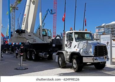 Las-Vegas, USA - March 8, 2017: Auto crane Terex on chassi Freightliner at CONEXPO-CON/AGG 2017, las-Vegas