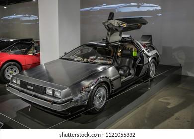 Las-Vegas, USA, September 2016 DMC DeLorean Back to the future movie car on auto exebition