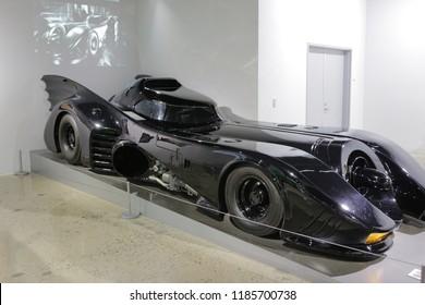 Las-Vegas, USA, September 2018 The Batmobile from Batman and Batman Returns, fictional car driven by the superhero Batman. Housed in the Batcave