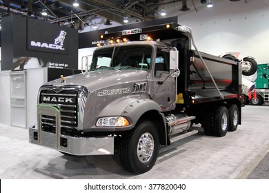 Las-Vegs, USA, Feb 2, 2016: Dump truck Mack with transmition mDrive HD at World of Concrete 2016 in Las-Vegas, Nevada