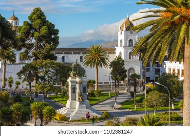 Latacunga Ecuador May 2018 built in Romanesque style in 1700 is located in the central square of the city
