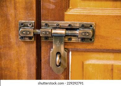 latch on a wooden door