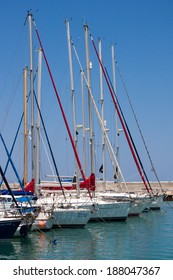 LATCHI, CYPRUS/GREECE - JULY 23 : Assortment of yachts in the marina at Latchi Cyprus on July 23, 2009