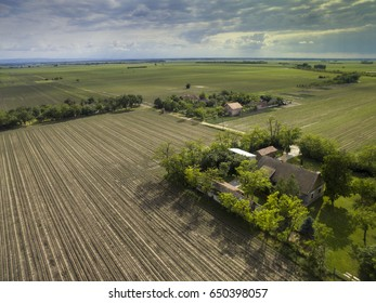 Late afternoon above agricultural crops and fields, plain of Vojvodina, northern Serbian province
