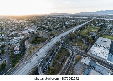 Late afternoon aerial of the Hollywood 170 freeway at Victory Bl in the San Fernando Valley area of Los Angeles, California.