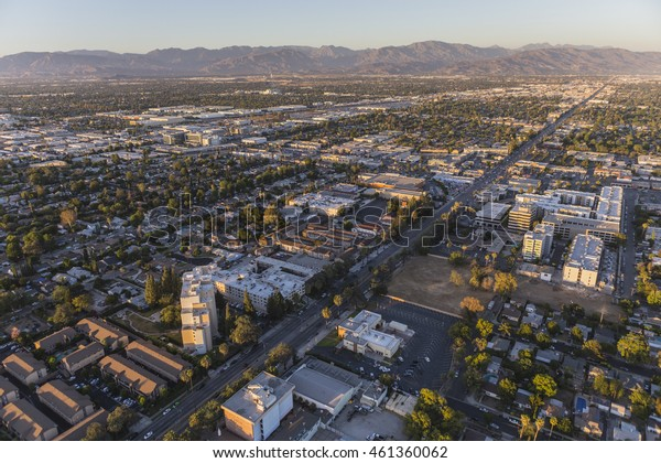 Late afternoon aerial view of Sherman Way in the San Fernando Valley.
