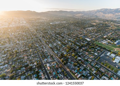 Late afternoon aerial view towards Lassen St and Corbin Ave in the San Fernando Valley Chatsworth neighborhood of Los Angeles, California.