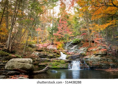 Late afternoon autumn image of Fullmer Falls at Childs Park, Dingmans, Pennsylvania