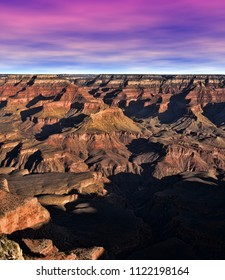 Late afternoon in the Grand Canyon Arizona with sunset skies