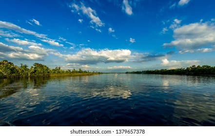Late afternoon landscape of the Peace River in Southwestern Flor
