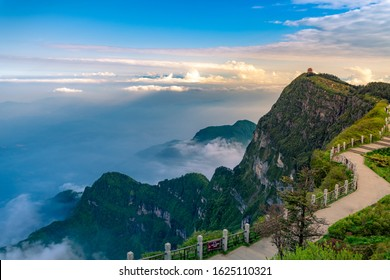 Late afternoon in the mountains and Mount Emei, China's Sichuan Province, Mare Nubium