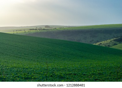 Late afternoon on the South Downs above Brighton in East Sussex