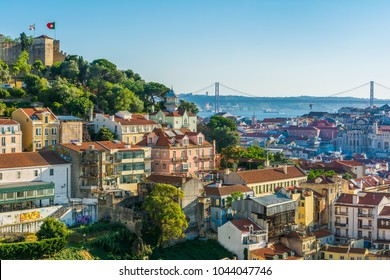 Late afternoon panorama in Lisbon, from the miradouro da graca. Portugal