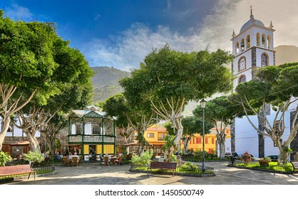 Late afternoon at Plaza de la Libertad in Garachico at the north coast of Tenerife (Canary Islands)