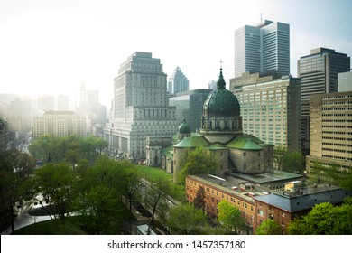 A late afternoon rain storm passes through downtown Montreal, Quebec