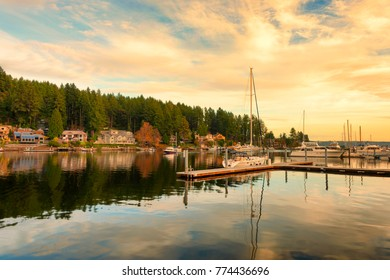 Late afternoon sunlight at the Harbor in Gig Harbor, Washington