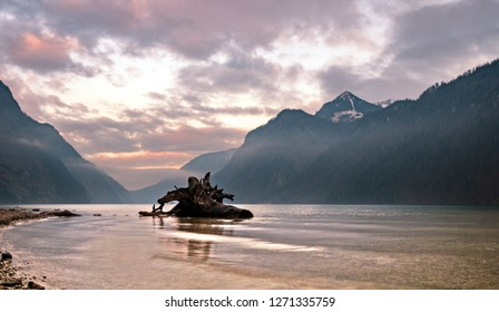 Late Afternoon sunset view to Königssee at Berchtesgaden Bavaria while enjoying the pure silence