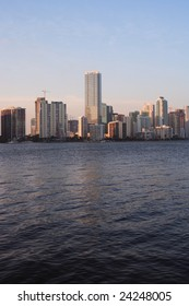 Late afternoon view of the Miami, Florida skyline.